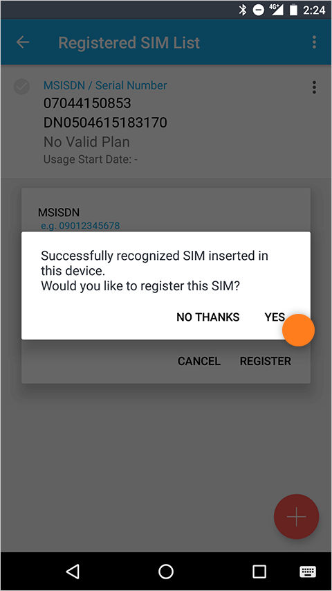Register your SIM on the mobile app
